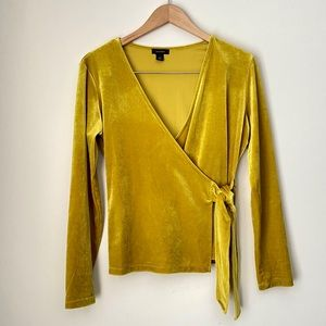 Faux Wrap Velvet Yellow Long Sleeve Top Small